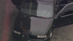 Car Riddled With Bullets; Suspect Sought