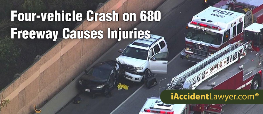 ALAMO, CA - Four-vehicle Crash on 680 Freeway Causes
