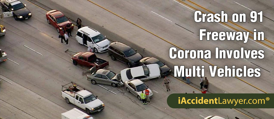 Corona, CA - Crash on 91 Freeway Involves 4 Vehicles