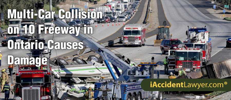 Ontario, CA - Multi-Car Collision on 10 Freeway Causes Damage
