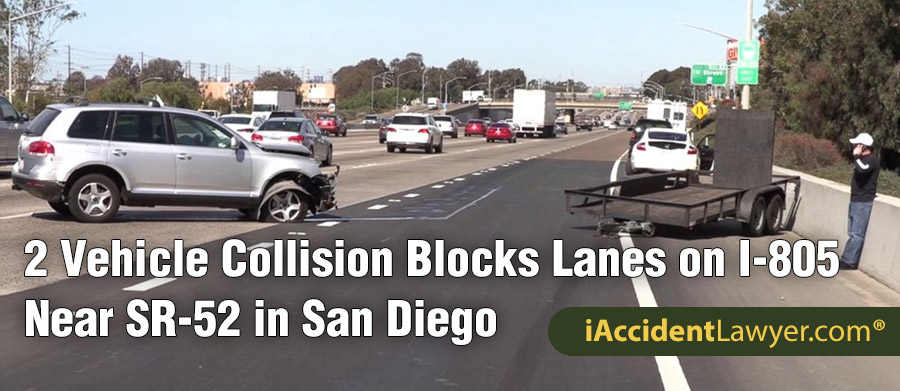 San Diego, CA - Two-vehicle Collision Blocks Lanes on I-805 Near SR