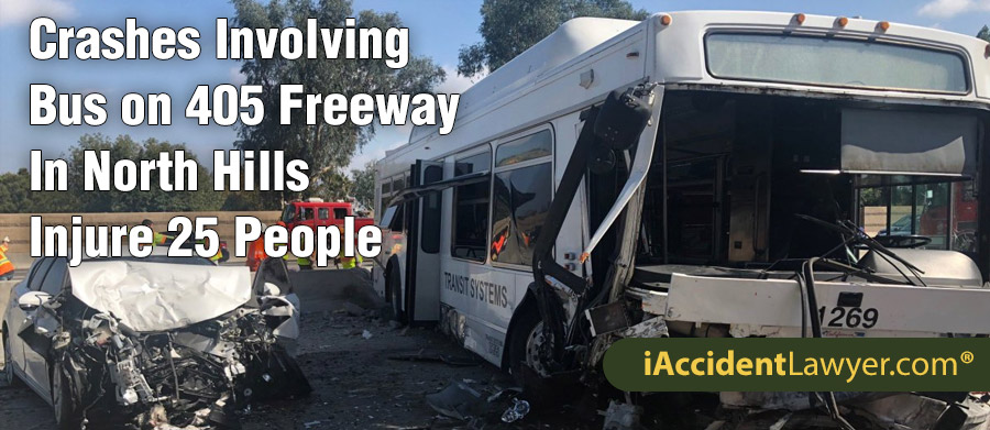 North Hills, CA - Crashes Involving Bus on 405 Freeway