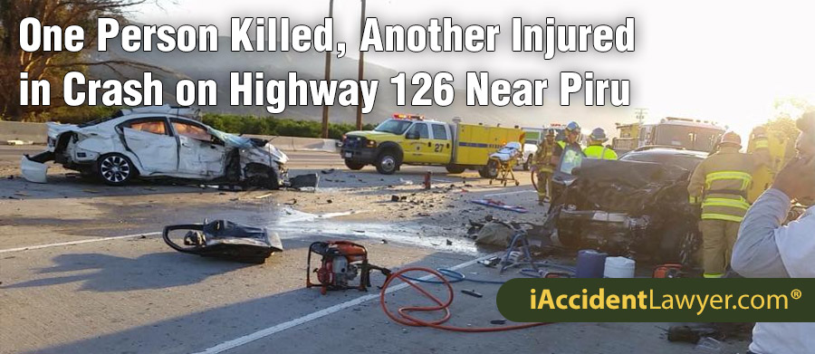 Piru, CA - One Person Killed, Another Injured in Crash on Highway
