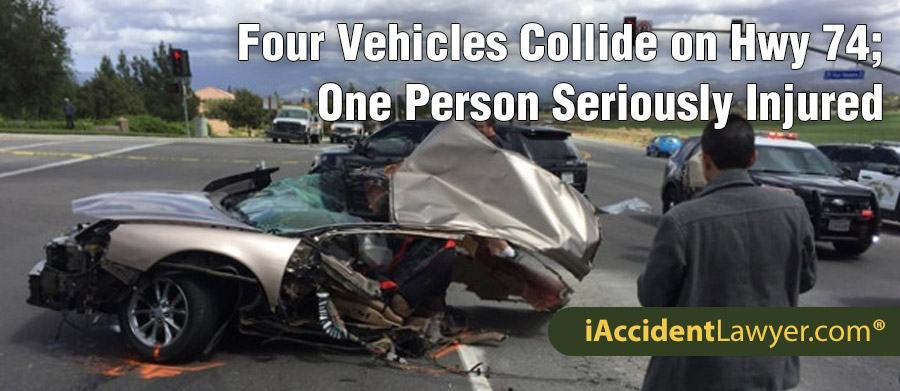 Lake Elsinore, CA - Four Vehicles Collide on Highway 74