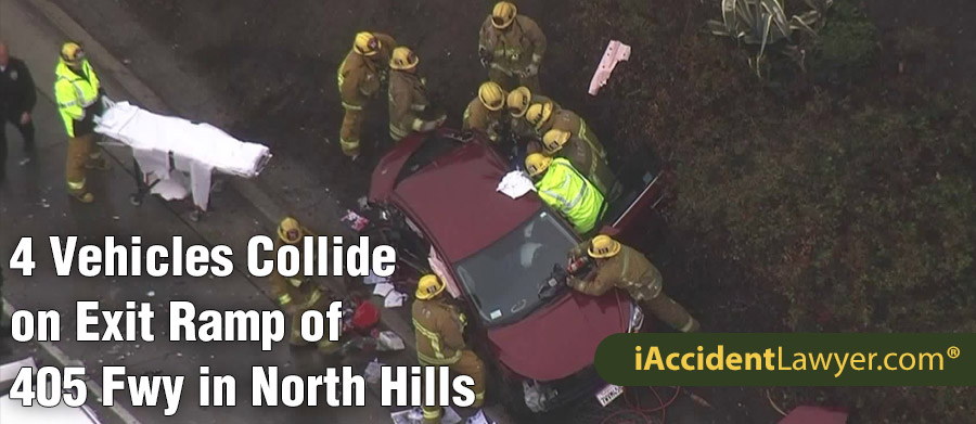 Los Angeles, CA - Four Vehicles Collide on Exit Ramp of 405