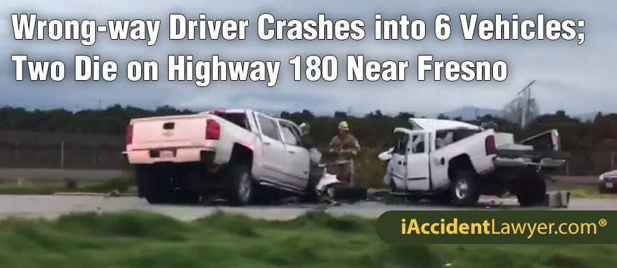 Fresno, CA - Wrong-way Driver Crashes into Six Vehicles