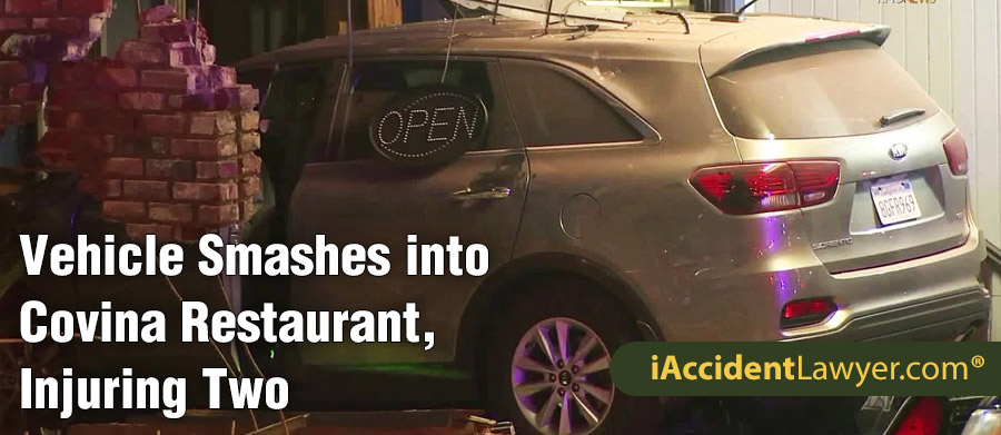 Covina, CA - Vehicle Smashes into Restaurant, Injuring Two